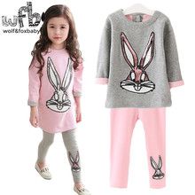 Retail 3-10 years Baby Girl Clothes + Pant / Set Cotton Bugs Bunny Rabbit Cartoon Sequin Korean Sweatshirts Spring Summer Fall