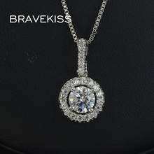 BRAVEKISS simple zircon crystal halo pendant necklace chains round floating charms necklaces collare for women jewelry BUN0036(China)
