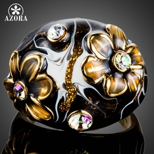 AZORA Unique Design Gold Color Black Flower Stellux Austrian Crystal Oil Painting Pattern Ring for Women TR0158