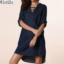 3 Colors ZANZEA 2017 Women Deep V Lace Up Denim Blue Asymmetrical Shirt Dress Short Mini Dress Party Dress Vestidos Plus Tops