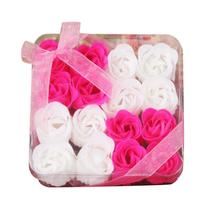 2018 fashion style flores decorativas 16Pcs Heart Scented Rose Flower Petal Bath Body Soap Wedding Party Gift set(China)