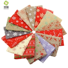 ShuanShuo Linen Quarter Fabric For Christmas DIY Decoration Hat Bag Bell Doll Stocking Precut Bundle 15 Kinds color 20X24CM(Hong Kong)