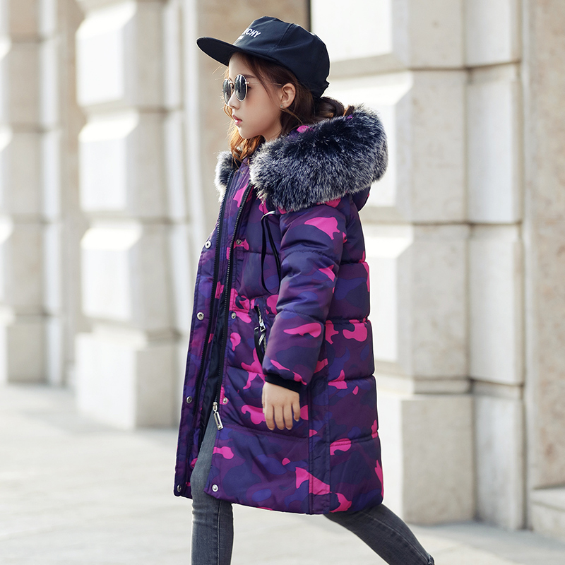 Children Girl Jacket Winter Warm Baby Kids Big Teenage Girls Winter Coats And Jackets With Fur Hood Overcoat Outerwear Parkas<br>
