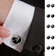 Fashion Jewelry Men Cufflinks Alphabet Single Letter Black Bottom Silver color Wedding Party Vintage 16 mm Men Cuff Link 2017