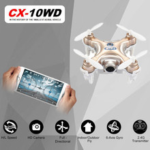 Cheerson CX-10WD Golden Mini Wifi FPV With High Hold Mode 0.3MP Camera 2.4G 6-axis Phone WIFI Control Mode RC Quadcopter Cheap(China)