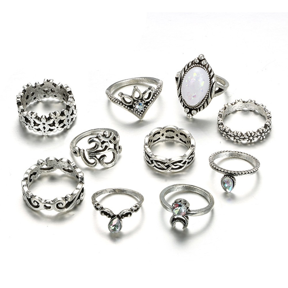 Bague Femme Vintage Rings for Women Boho Geometric Flower Crystal Knuckle Ring Set Bohemian Midi Finger Jewelry Silver Color 17
