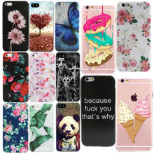 Flower Rose Cool Animal Painting Print For iphone 5 5s 5se 6 6s 7 Cover Case Silicone Soft TPU Phone Bags Thin Slim  Protector
