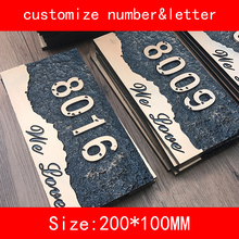 PMMA size 20*10cm retro luxury design Numbers and letter Customized House Hotel Door Plates(China)