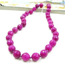 Vintage Classic Laboratory-created Stone Jewelry Elegant Noble Rose Pink Rubies Beaded Chain Choker Necklace Collier 47 cm