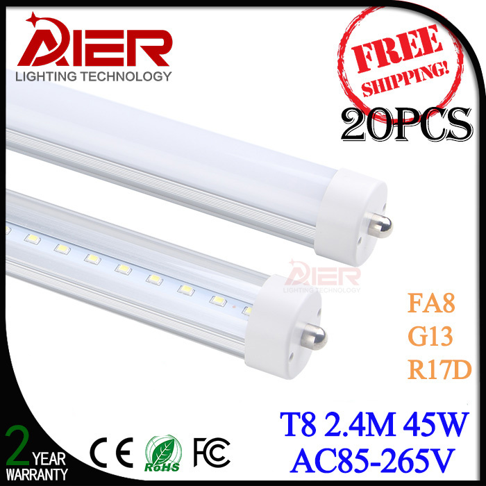 FA8 single pin 8ft led tube light 2.4M 8ft t8 led fluorescent tube replacement 45W, fedex free shipping<br><br>Aliexpress