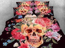 Royal Linen Source 4 Parts Per Set Bed Sheet Set Day of the Dead Sugar Skull Flowers and Feathers 3d Bedding