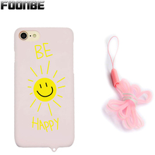 Fashion Kitty Cat Pink Matte phone Cases With Rope  For iPhone 6 6s 6Plus 7 7 Plus Smile Love Heart Cover Phone Cases