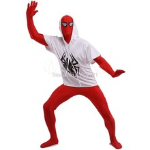 Red and White Spiderman Cosplay Costumes Unitard Lycra Spandex Full Body Zentai Suit Costumes