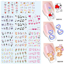 11 Designs in 1 Nail Art Water Transfer Wraps DIY Watermark Stickers Decal Sweet Teddy Bear Heart Valentine's Day BEBLE1313-1323