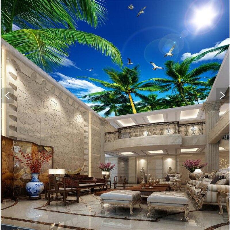custom 3D wallpaper living room Blue sky palm sun smallpox top Art Hotel Restaurant  mural murals-3d wall papers home decor<br><br>Aliexpress