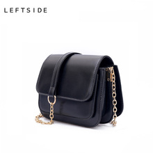 LEFTSIDE 2017 Women PU Leather Mini Handbag Designer Chain Crossbody Handbags Ladies Hand Bags Shoulder Bag Black bolsa feminina