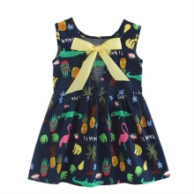 Fashion Baby Girls Summer Animals Floral Printed Princess Style Sleeveless Children Baby A-Line Dresses Modern Cute Style(China)