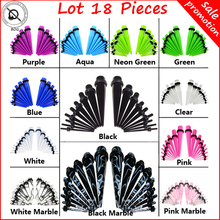 Lot18Pcs Ear Taper Stretcher Expander Gauge Kit Ear Tunnel Plugs Set Ear Piercing Starter Kit Body Jewelry 12 Colors For Choose(China)