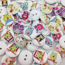 50pcs 20mm Owl Wood Kid's Buttons Sewing Craft Mix Lots WB305
