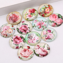 reidgaller vintage mix flower rose photo flatback round glass cabochons 25mm 20mm 18mm 14mm 12mm 10mm diy jewerly findings(China)