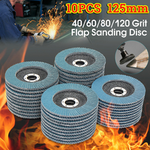 10Pcs 5 inches Flap Sanding Disc 40/60/80/120 Grits Round Sandpaper Sanding Paper Discs 125mm Grinding Wheels Flap Discs(China)