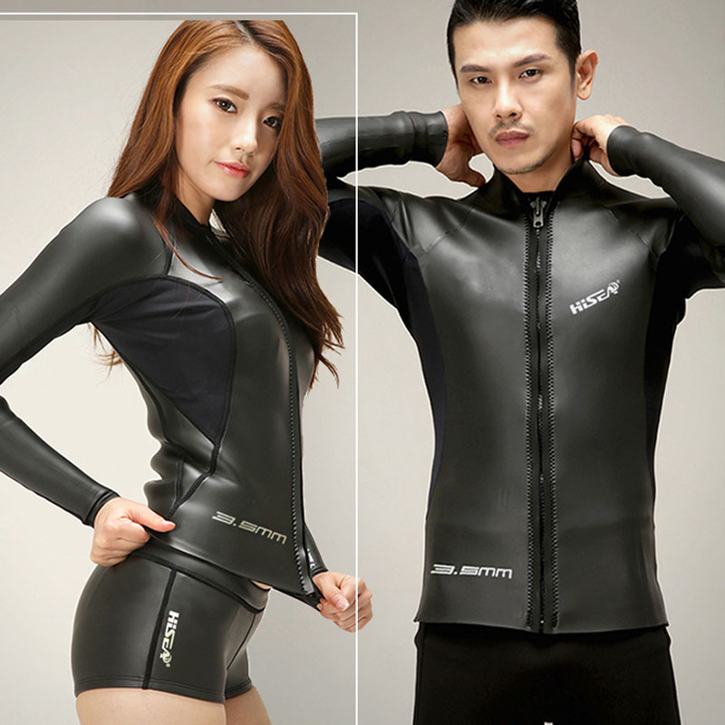 Mens Wetsuit Jacket 3.5mm Premium Yamamoto Neoprene Wetsuits Womens Long Sleeve Top and Shorts Unisex Design Front Zipper<br>