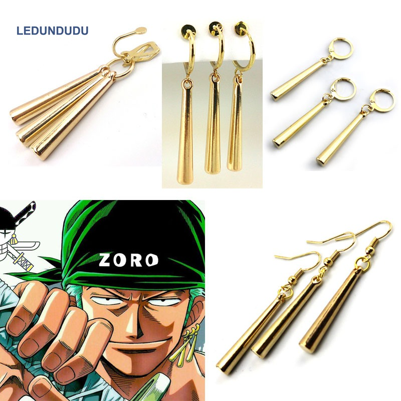 4 styles Anime One Piece Pirate Hunter Roronoa Zoro Cosplay Accessories Ear Drop Dangle Earrings Set Ear Nail Clip set title=