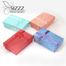 New Arrival Light Blue/Red/Purple/Cyan Gift Box For Earrings And Necklace(China)
