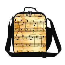 Musical Notation Cooler Lunch Bags for Girls Chevron Insulated Lunch Container for Women Work Crossbody Lunch Box Bag Children(China)