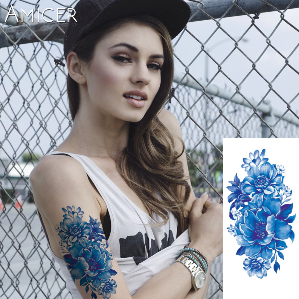 3D lifelike Cherry blossoms rose big flowers Waterproof Temporary tattoos women flash tattoo arm shoulder tattoo stickers 18