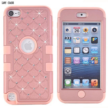 For iPod Touch 5 5th Gen Hybrid Bling Diamond Crystal Case 3 in 1 Armor Heavy Duty Hard Rugged Rubber Case Cover