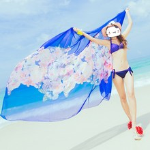 Scarves Printed Beach Towel Serviette De Plage Toalla Beach Swim Towel Air Conditioning Shawls Silk Sunscreen Printed Scarf
