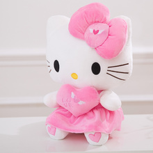 25cm/30cm/40cm Plush Pink color bowknot Dress Sit Hello Kitty Plush Doll Toy with Heart For christmas party birthday gift