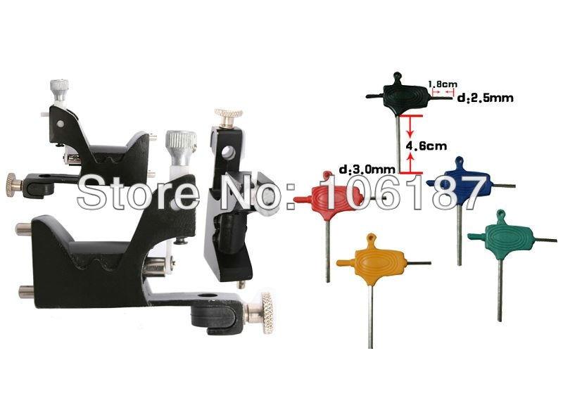 Black Professional  Rotary Tattoo Machine Gun With 1Pcs Colorful Tattoo Adjust Tool Wrench<br>
