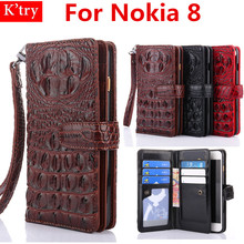 Luxury Crocodile Pattern Design Card Holder Wallet Flip Case For Nokia 8 With Hand Strap Flip Bag Cover(China)