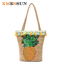 Handmade Tassel Summer Straw Handbags Women Sequin Pineapple Beach Bag Woven Shoulder Bags Basket Party Market Shopping Tote C84