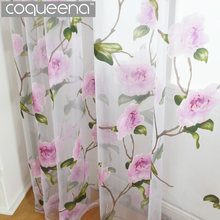Pink Flowers Pattern Decorative Sheer Voile Tulle Curtains for Living Room Bedroom Kitchen Door Window Country Style, 1 PCS(China)
