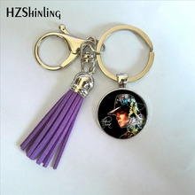 2017 New Fashion Michael Jackson Key Chain Moonwalk Classic Michael Jackson Tassel Key Ring Glass Dome Pendant Jewelry Wholesale(China)