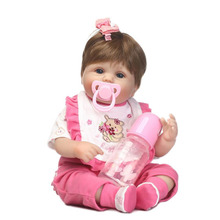 Sucking Pacifier Lifelike Reborn Baby Doll Toy 40 cm Alive bebe Soft Silicone 16'' Babies Doll with Clothes For Child Xmas Gifts