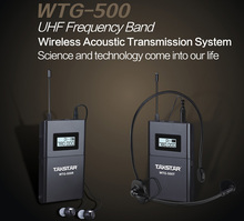 New Product WTG-500 UHF Wireless Acoustic Transmission System voice device teaching earphones Transmitter+Receiver+MIC+earphone(China)