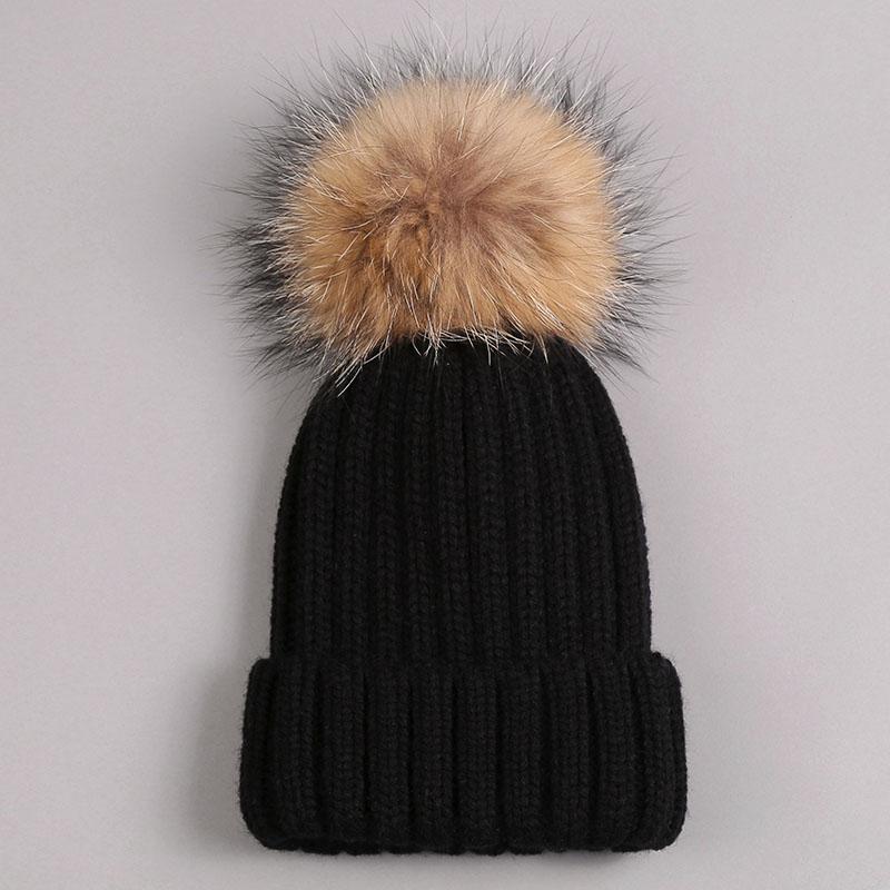 kid hat with fur pompom black 1