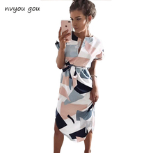 Buy 2017New Hot Sexy Women Summer Casual Dresses V-neck Short Sleeve Print Sundress Straight Sashes Dress Plus Size Vestidos for $8.99 in AliExpress store