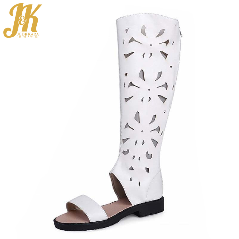 2017 Square Low Heels Knee High Boots Summer Boots Cutouts Shoes Woman Plus Size 34-43 Fashion Summer Style Zapatos Mujer<br>