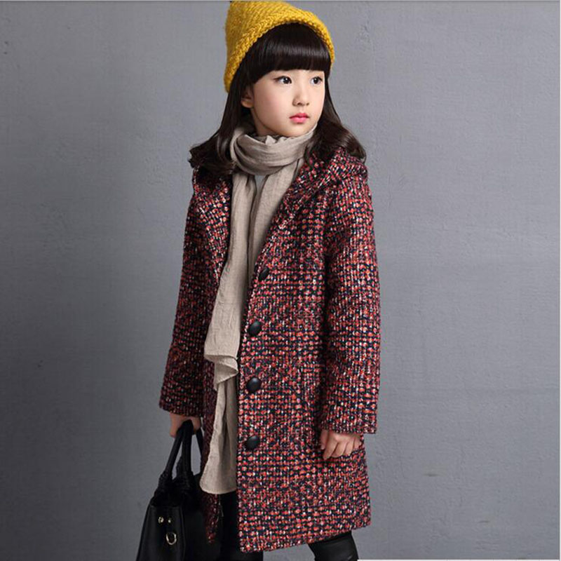 2016 New Fashion Girls Woolen Coat Solid Colors Fashion Outwear High Quality Winter Long Style<br>