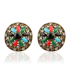 HIYONG Fashion Personality Round Ethnic Style Vintage Earrings Gold Retro Plated For Women Colorful Resin Earrings Turkish Jewel