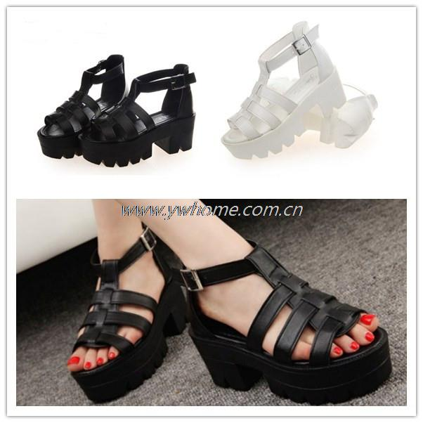 Fashion Summer Women Shoes Open Toe Leather Peep Toe Platform High Heel Gladiator Sandals Boots Chunky Free Shipping XM031<br><br>Aliexpress