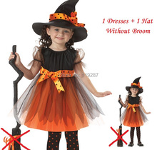 Girl 1 Witch Dress + 1 hat cap Princess Party Dresses Tutu Baby Kids Children Clothing carnival halloween Cosplay Costume(China)