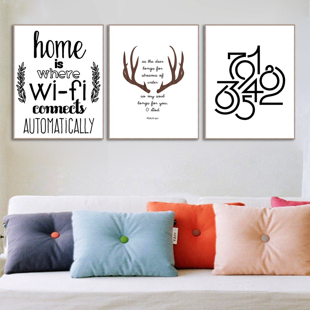 Abstract Deer Home Wifi Quotes Large Canvas Art Print Poster Wall Picture Painting No Frame Living Room Decor