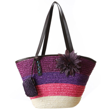 Knitted Straw bag Summer flower Bohemian fashion women's handbags color stripes shoulder bags beach bag big tote bags(China)