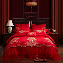 2018 Cotton stain Embroidered red color lace Bedding set King Queen size Bed set 4/6/9Pieces Bedspread Duvet cover set(China)